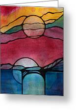 Stained Glass Moonrise Greeting Card