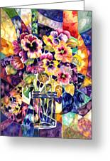 Stained Glass Pansies Greeting Card by Ann  Nicholson