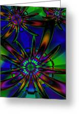 Stained Glass Passion Flowers Greeting Card