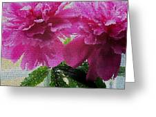 Stained Glass Peonies Greeting Card