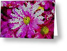 Stained Glass Pink Chrysanthemum Flower Greeting Card