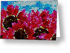 Stained Glass Red Sunflowers Greeting Card