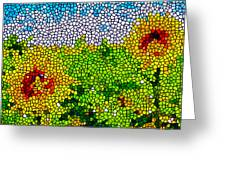 Stained Glass Sunflowers Greeting Card