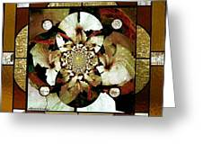 Stained Glass Template Sepia Flora Kalidescope Greeting Card