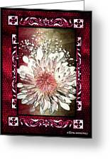 Stained Glass Template White Chrysanthemum Greeting Card