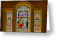 Stained Glass Window Cathedral St Augustine Greeting Card by Christine Till