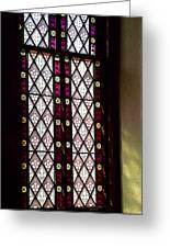 Stained Glass Window In Saint Paul's Episcopal Church-1882 In Tombstone-az Greeting Card
