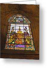 Stained Glass Window In Seville Cathedral Greeting Card