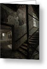 Stairs And Corridor Inside An Abandoned Asylum Greeting Card by Gary Heller
