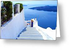 Stairs To The Blue Door Greeting Card