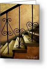 Stairs With Ornamented Handrail Greeting Card