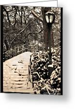 Stairway In Central Park On A Stormy Day Greeting Card