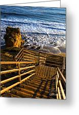 Steps To Blue Ocean And Rocky Beach Greeting Card