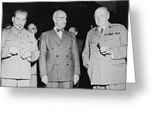 Stalin Truman And Churchill  Greeting Card