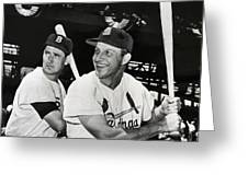 Stan Musial And Ted Williams Greeting Card