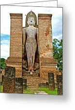 Standing Buddha At Wat Mahathat In 13th Century Sukhothai Historical Park-thailand Greeting Card