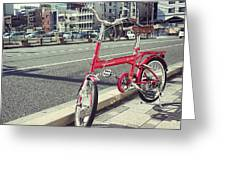 Standing Red Bike Greeting Card