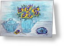 Stangl Pottery And Pansies Greeting Card