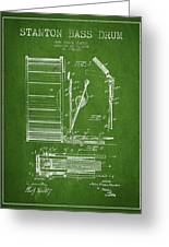 Stanton Bass Drum Patent Drawing From 1904 - Green Greeting Card