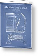 Stanton Bass Drum Patent Drawing From 1904 - Light Blue Greeting Card