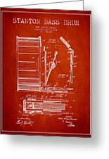 Stanton Bass Drum Patent Drawing From 1904 - Red Greeting Card