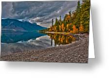 Stanton Mountain With Mount Vaught And Mcpartland Reflected In Lake Mcdonald Greeting Card