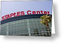 Staples Center Sign In Los Angeles California Greeting Card