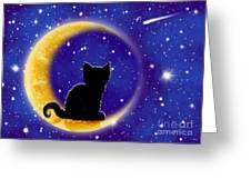 Star Gazing Cat Greeting Card