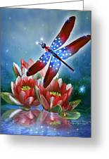 Star Spangled Dragonfly Greeting Card