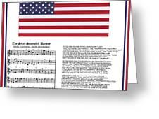Star Splangled Banner Music  Lyrics And Flag Greeting Card