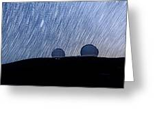 Star Trails Above Keck Greeting Card
