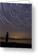 Star Trails Night Sky Landscape Vermont Lake Champlain Greeting Card
