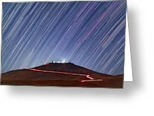 Star Trails Over Cerro Paranal Telescopes Greeting Card