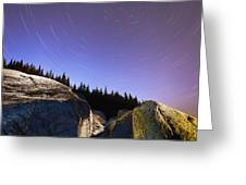 Star Trails Over Rocks In Saguenay-st Greeting Card