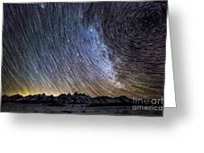 Star Trails Over Teton Mountains Greeting Card