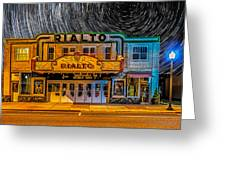 Star Trails Over The Rialto Greeting Card