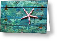 Seashore Peeling Paint - Starfish And Turquoise Greeting Card