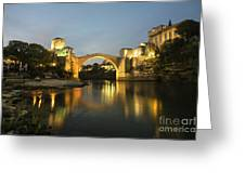 Stari Most By Night  Greeting Card