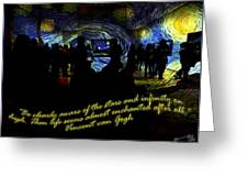 Staring At The Starry Night In The Moma Greeting Card