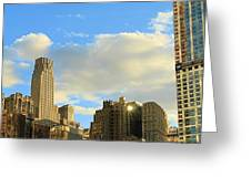 Manhattan Skyline Here Comes The Sun Greeting Card by Dan Sproul