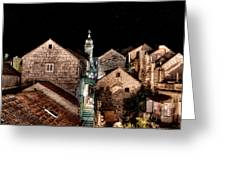 Starry Night Above The Rooftops Of Korcula Greeting Card