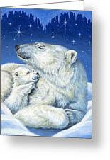 Starry Night Bears Greeting Card by Richard De Wolfe