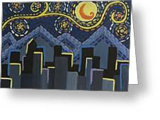 Starry Night Cityscape Greeting Card
