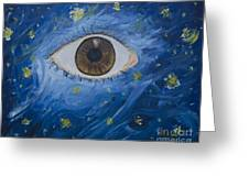 Starry Night With Eye  Greeting Card