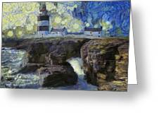 Starry Hook Head Lighthouse Greeting Card
