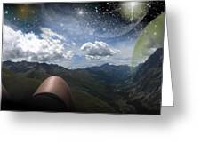 Stars And Planets In A Valley Greeting Card