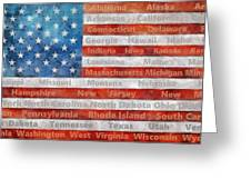 Stars And Stripes With States Greeting Card