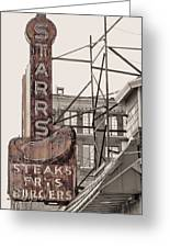Stars Steaks Frys And Burgers Greeting Card