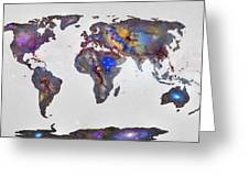 Stars World Map Greeting Card