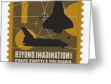 Starschips 01-poststamp - Spaceshuttle Greeting Card by Chungkong Art